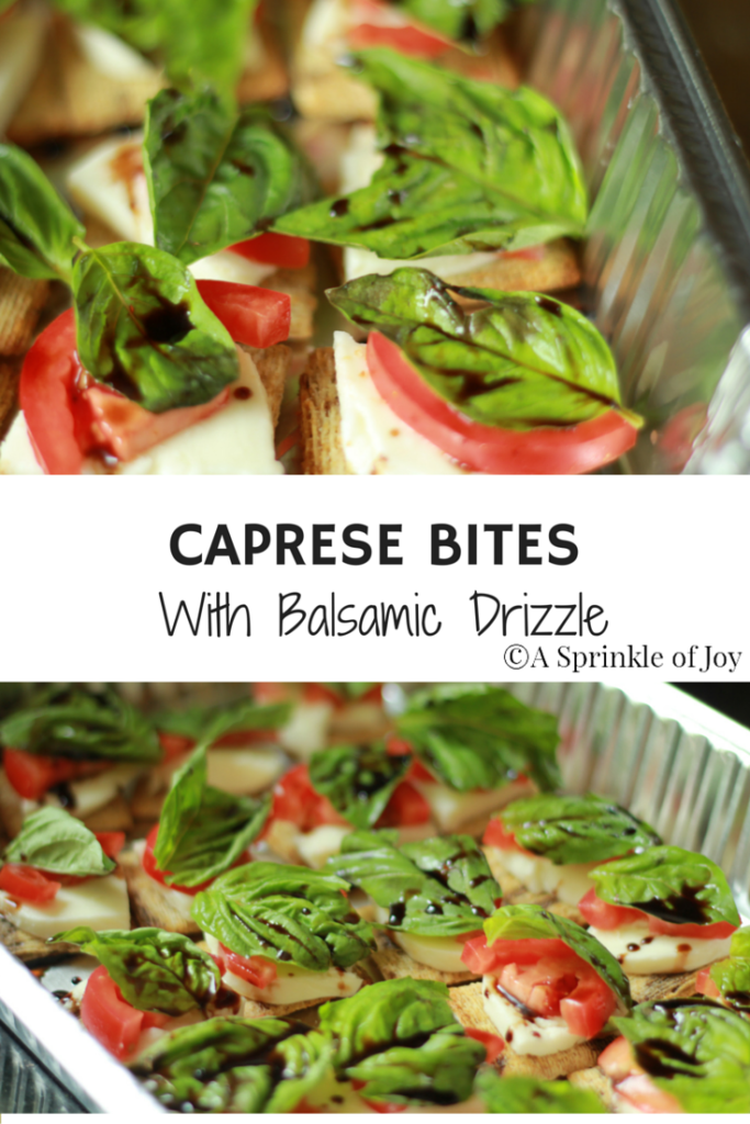 Looking for a yummy and easy appetizer? Check out these simple caprese bites with balsamic drizzle. Made with triscuits, fresh mozzarella, fresh basil and tomatoes, then drizzled with a balsamic reduction it is sure to hit the spot.