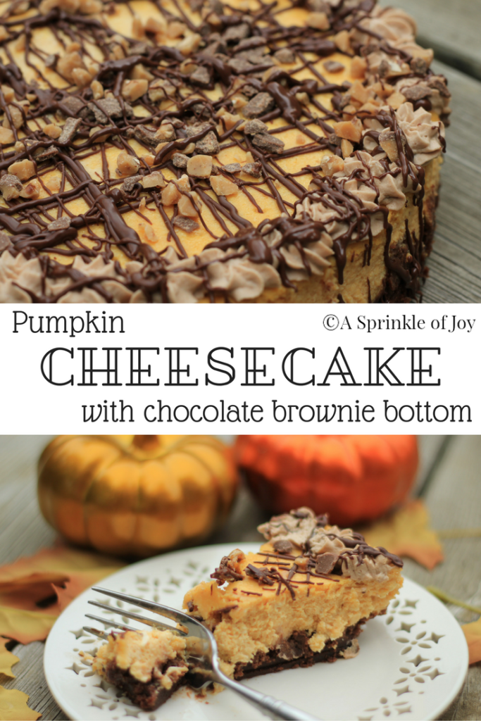Pumpkin Cheesecake with Brownie Bottom| Are you looking for a different twist on pumpkin. Try this yummy pumpkin cheesecake made with a brownie layer on the bottom, drizzled with chocolate and topped with toffee pieces. From http://www.asprinkleofjoy.com/recipe/pumpkin-cheesecake-brownie-bottom/
