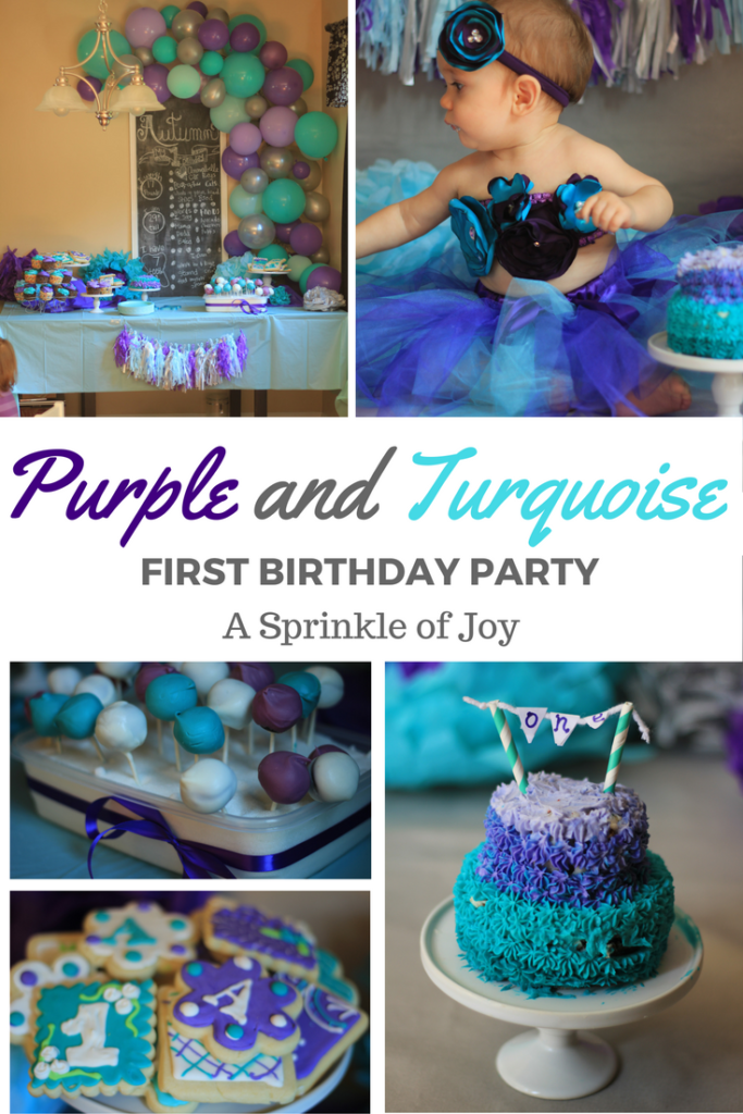 A purple and turquoise first birthday theme, that is easy to do on your own!