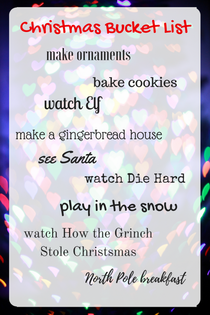 A sweet and simple Christmas Bucket List.