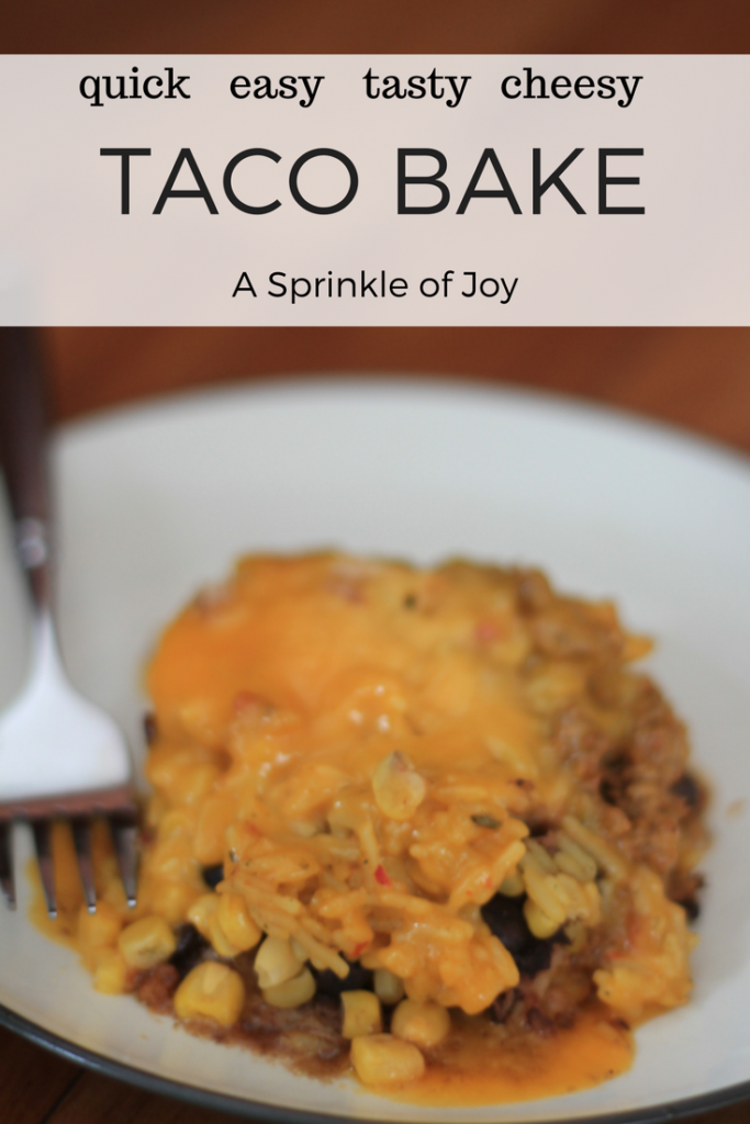 This quick and simple taco bake recipe comes together in no time. All the taste of taco with much less of the mess.