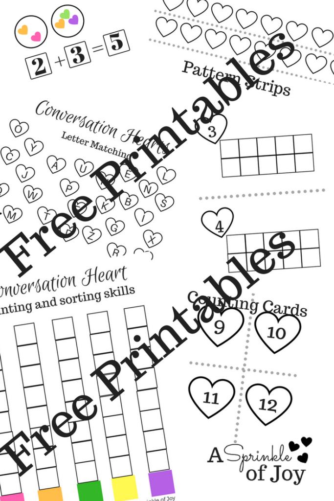 With Valentine's Day around the corner, conversation hearts are great to use for a variety of activities. Check out all the free printables I have