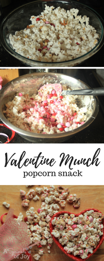 A fast and easy popcorn snack mix to make for Valentine's Day.