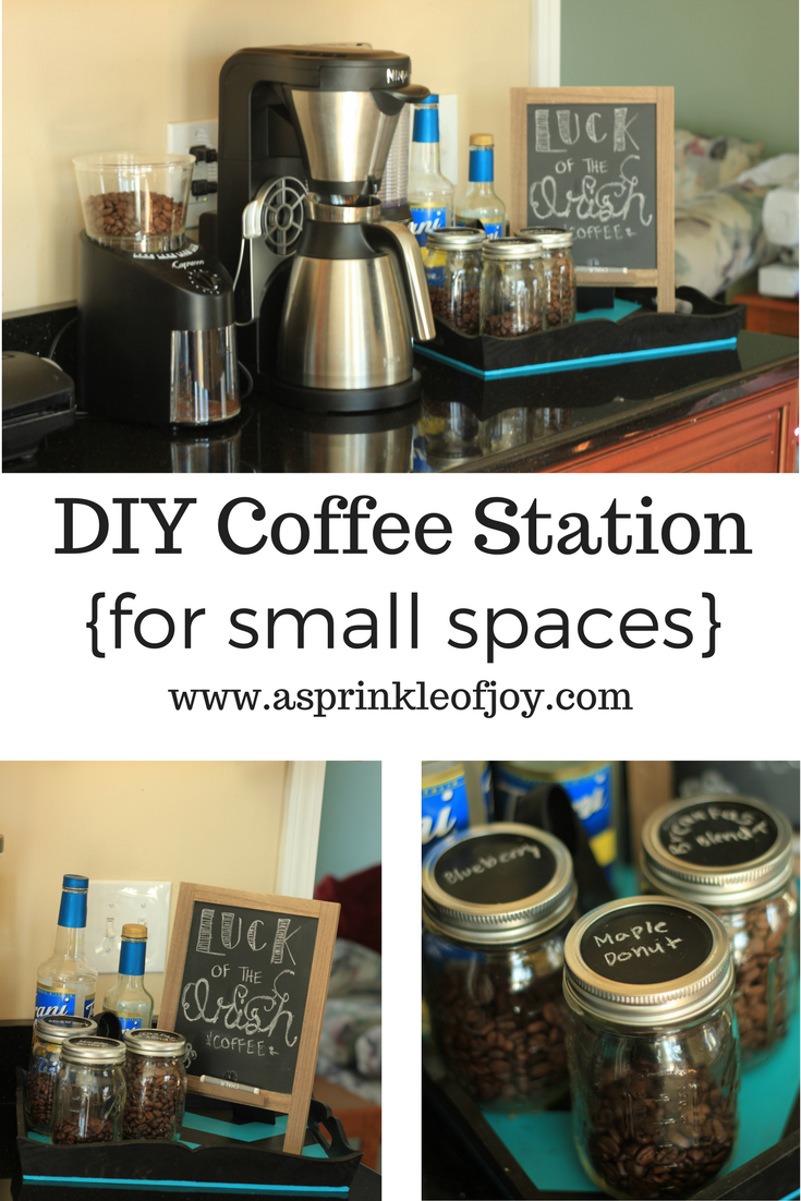 DIY Coffee Station {for small spaces} - A Sprinkle of Joy