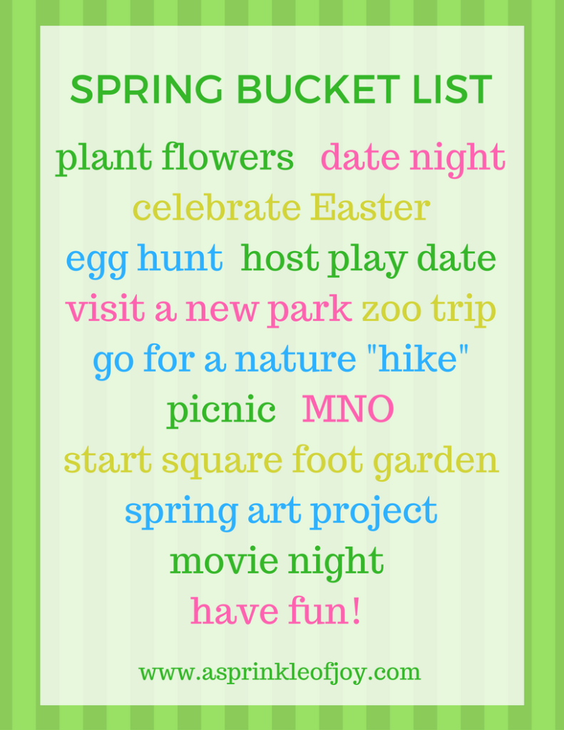 Our spring bucket list for this year.