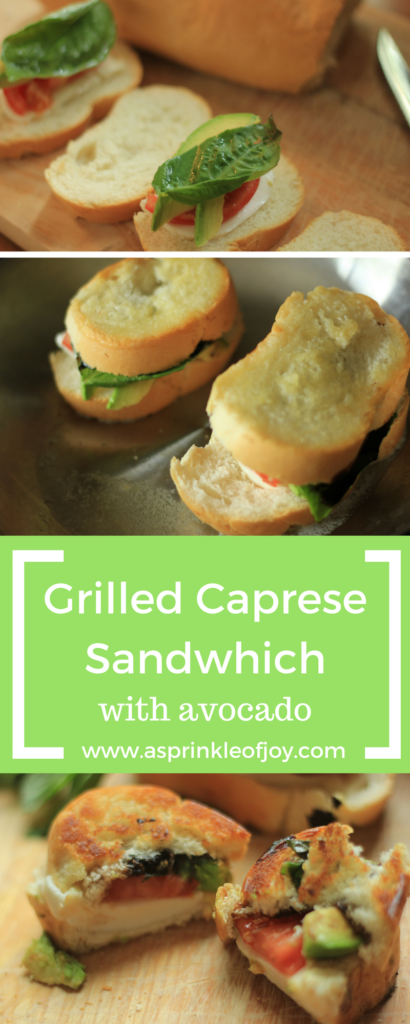 Quick and simple grilled caprese sandwich with avocado.