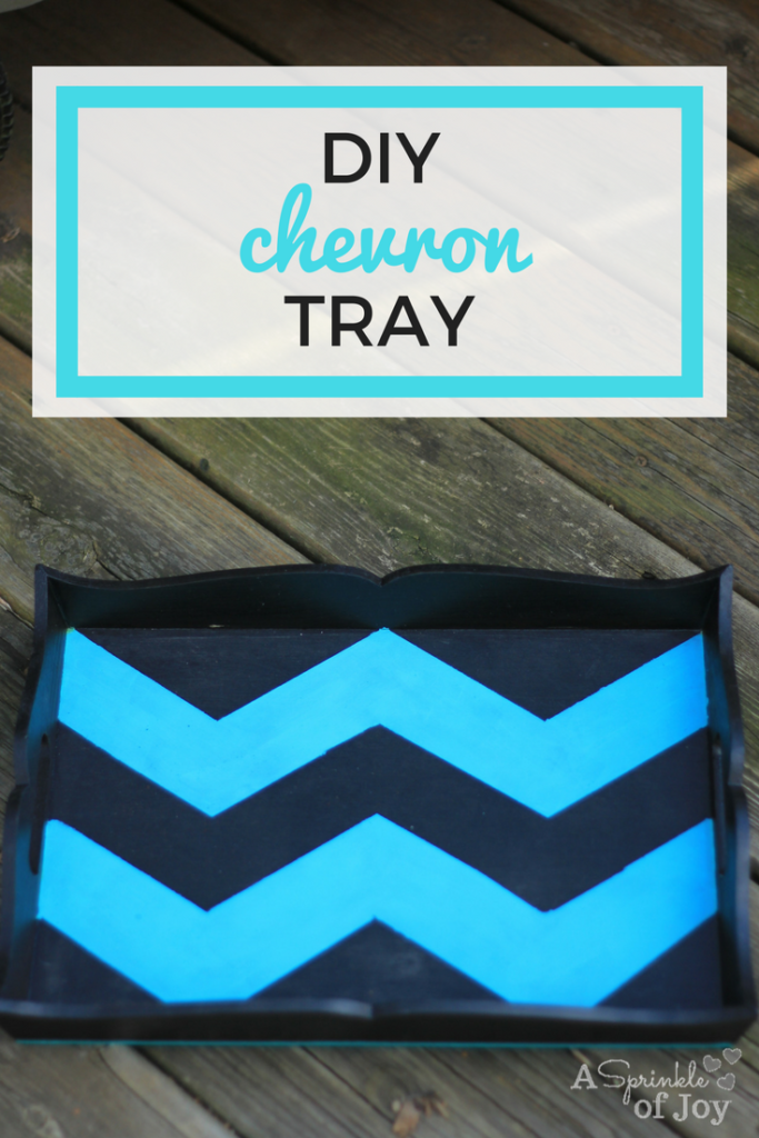 A quick and easy DIY chevron tray using wood stain and paint.