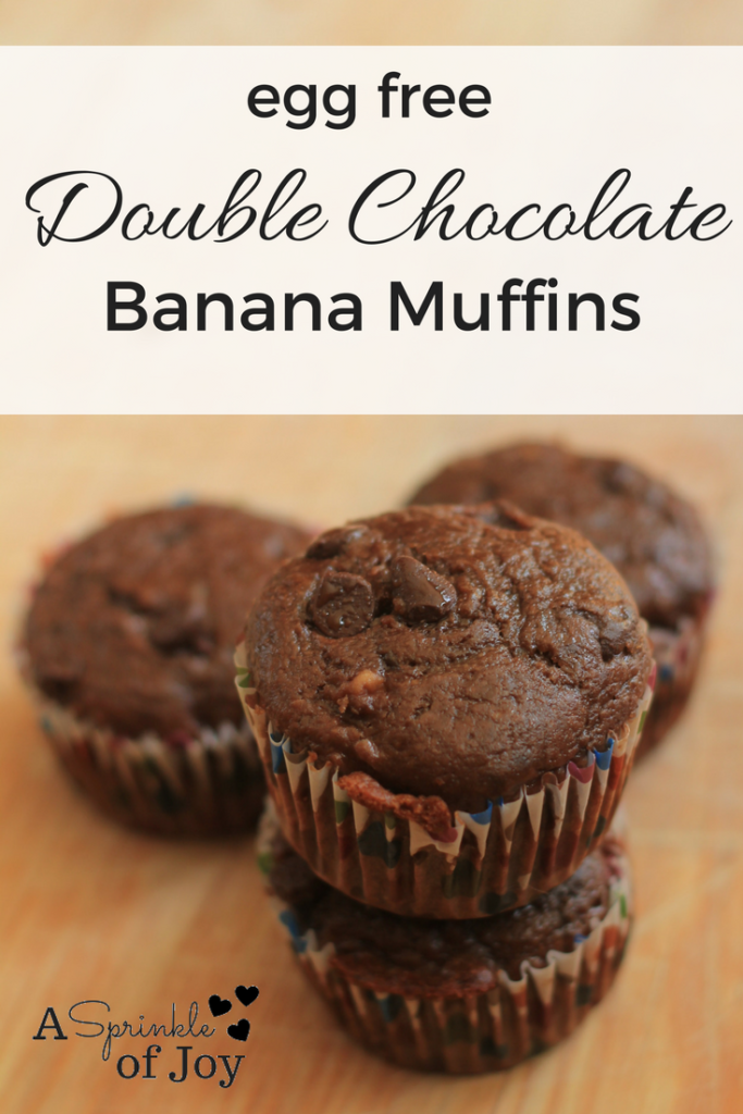 A simple and tasty egg free double chocolate banana muffin recipe.