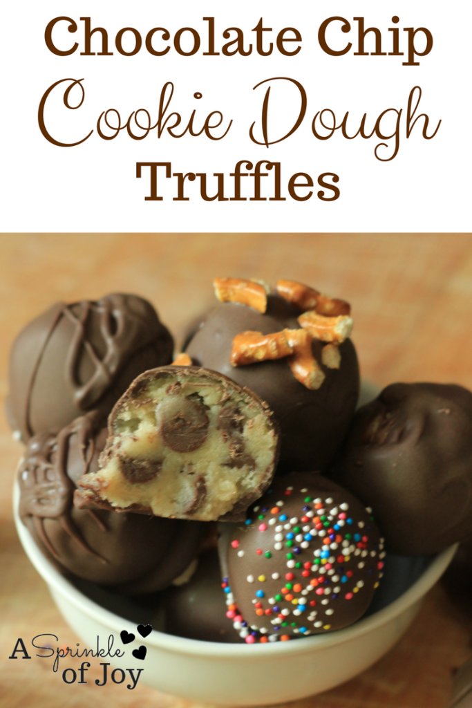 Egg free chocolate chip cookie dough truffles.  Quick and easy to make
