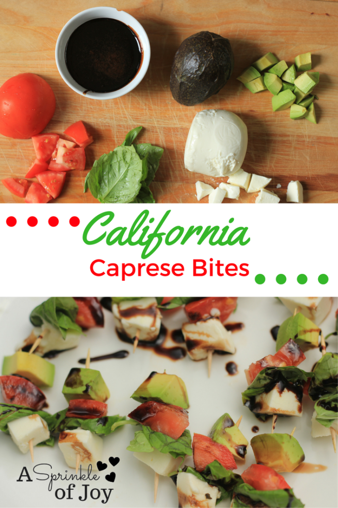 california caprese bites are easy to make! Made with fresh mozzarella, avocado, tomato, basil and drizzled with balsamic glaze, they are sure to be a hit.