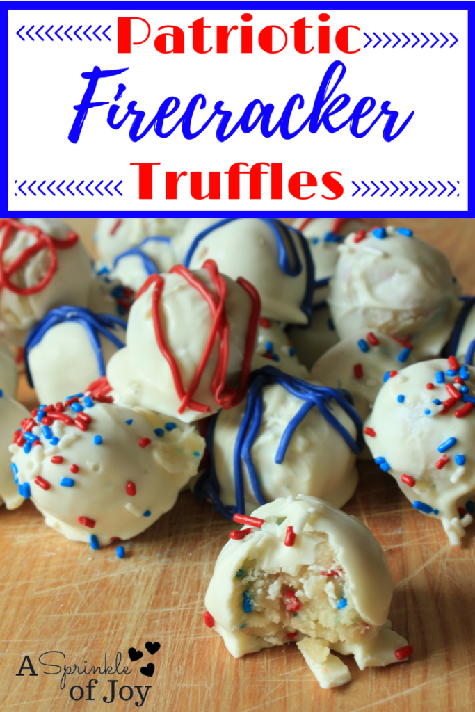 These firecracker truffles are a fun patriotic dessert that is easy to make. Great for Fourth of July (4th of July), BBQs, or anywhere.