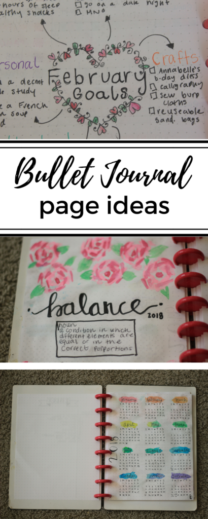 Bullet journal page ideas for January and February.