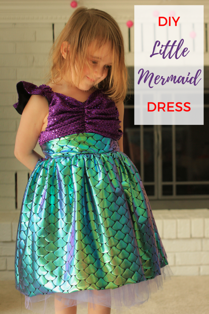 Little Mermaid inspired dress for preschool child with free printable pattern.