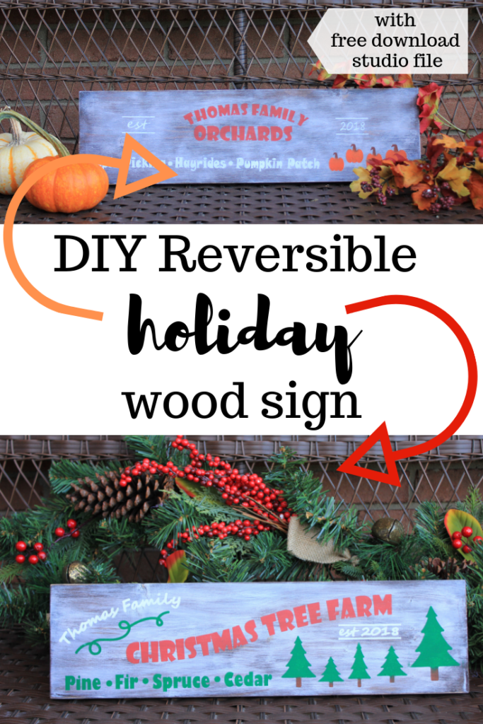 An easy DIY reversible holiday sign complete with an instant free download. Reversible holiday wooden sign. Christmas and fall reversible diy sign. #Fall #Christmas #DIY #reversiblesign